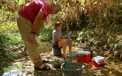 Checking the water chemistry of a stream in Trinidad